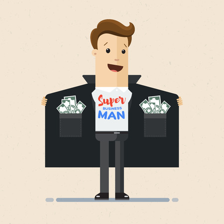 Business man opens his cloak to show T-shirt with text super businessman on his chest and pockets full of money. Illustration