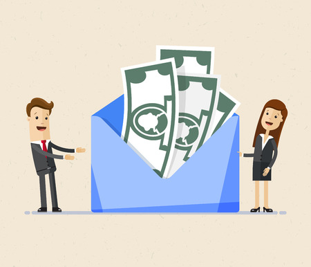 Business man and woman stands near big envelope with money. Concept of a salary, bonus, payout, wages in the envelope. .Transfer money. Illustration