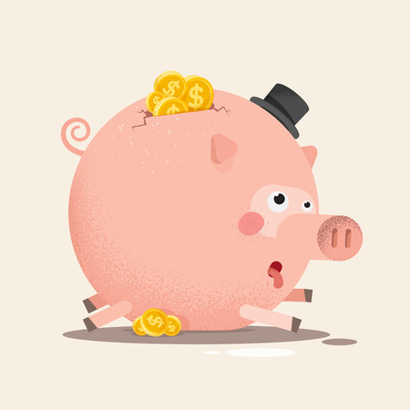 Full piggy bank with coins.