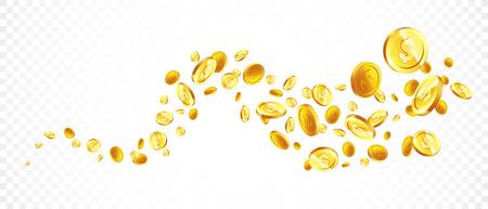 Vector Illustration of flying golden coins.