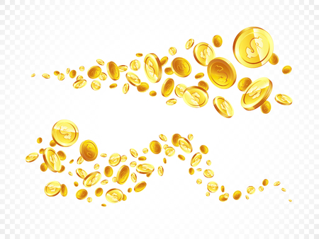 Vector Illustration of flying golden coins. Two line on white background