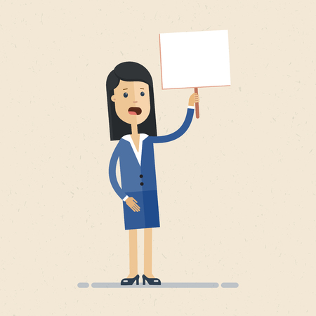 Business woman holding tablet with text in hand. White background Illustration