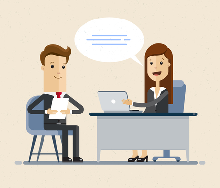 Vector concept of job interview women in flat style. Jobseeker and employer sit at the table and talk. Good impression. Simple concept with working situation, recruitment or hiring.