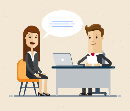 Woman having a job interview with Businessman HR. Illustration isolated on white background.