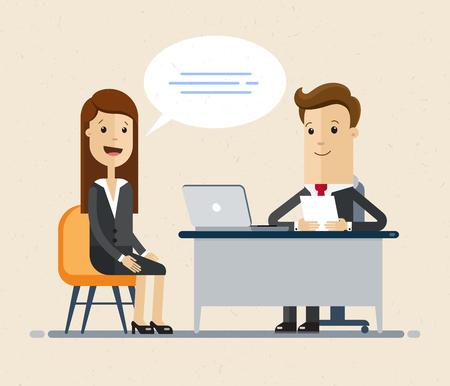 Vrouw met een sollicitatiegesprek met zakenman HR. Illustratie geïsoleerd op een witte achtergrond. Vector Illustratie