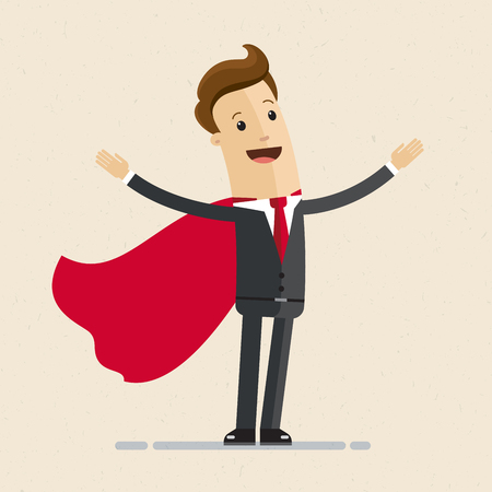 Super businessman in red cloak greeting