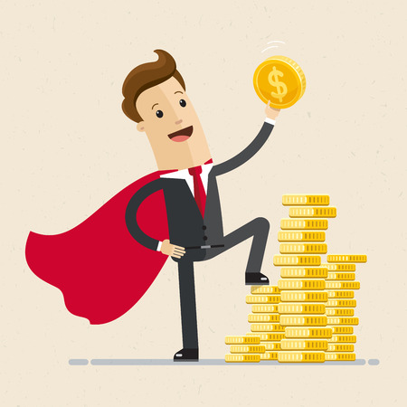 Businessman in a red cloak holding golden coin. Superhero of business.