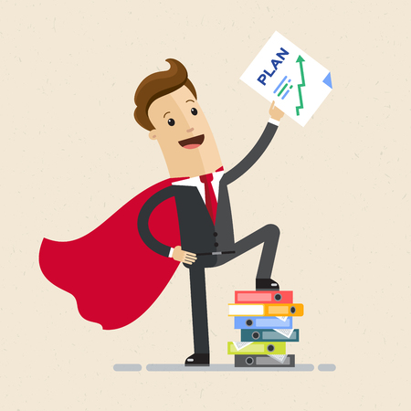 Businessman super hero and growth chart. Business plan