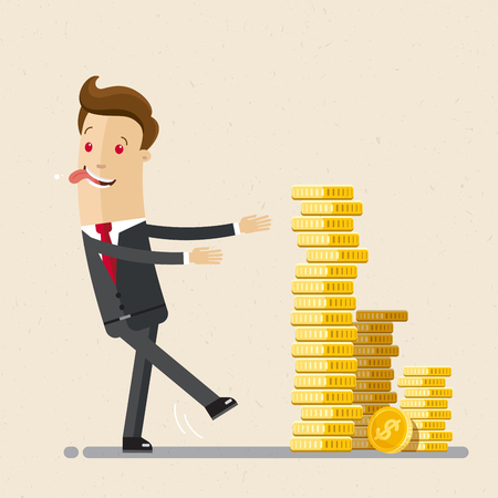 Businessman going to a pile of coins. Business economic financial concept. Coins stack. Illusztráció
