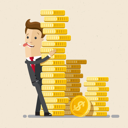 Businessman hug a pile of coins. Business economic financial concept. Coins stack.
