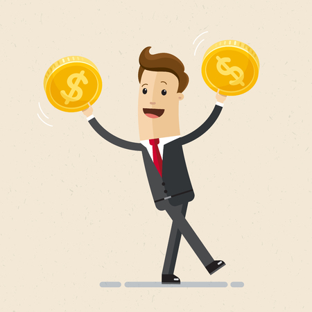 Businessman hold golden coins in his hand. Business and finance concept. Illustration