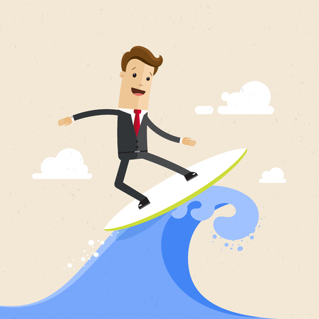 Happy businessman surfing on the wave. Flat vector illustration.