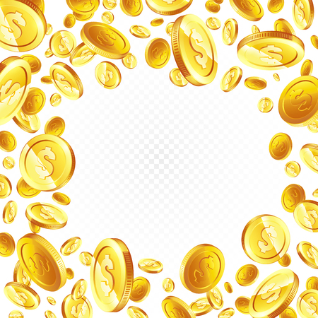 Flying gold coins. illustration, isolated background. Illusztráció