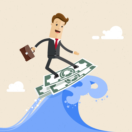 Happy successful businessman surfing on the wave on dollar banknote. Illusztráció
