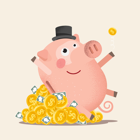 Happy piggy bank with coins.