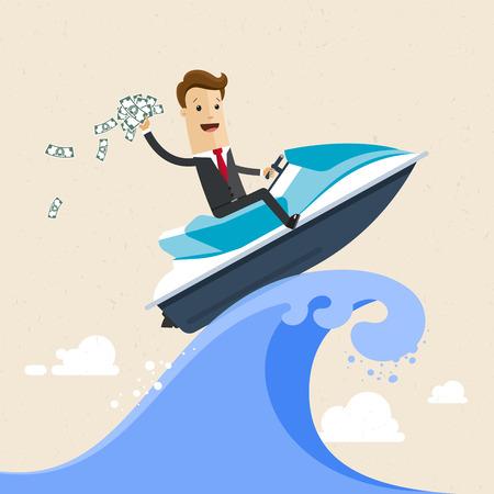 Happy successful businessman surfing on the jet ski.