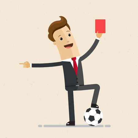 Businessman with football and red card in hand. Concept business illustration. Illusztráció