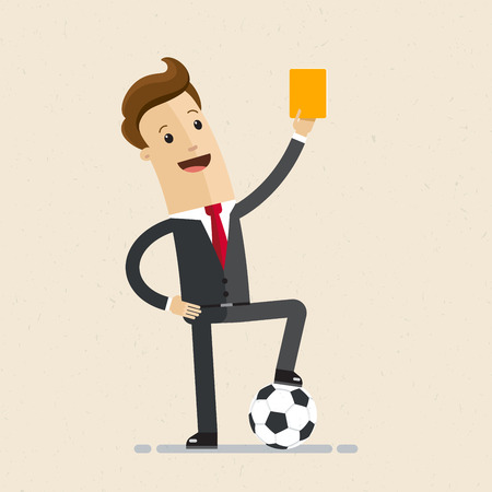 Businessman with football and yellow card in hand. Concept business illustration. Illustration