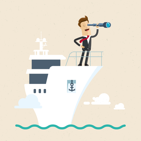 Businessman with telescope on ship. Business goal search.