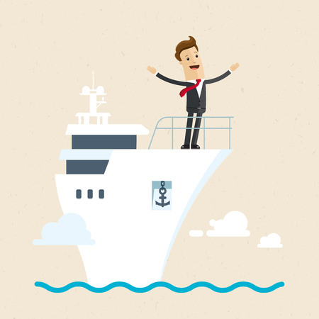 Businessman standing on the deck of a ship. Illustration