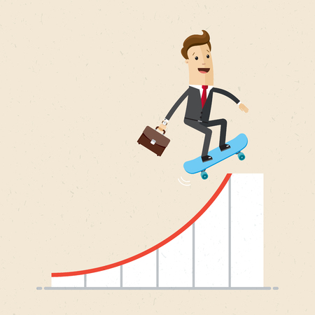 Businessman on skateboard on growth arrow of graph. Concept business illustration.