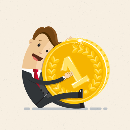 Businessman hold a big gold coin in his hand. Business and finance concept.