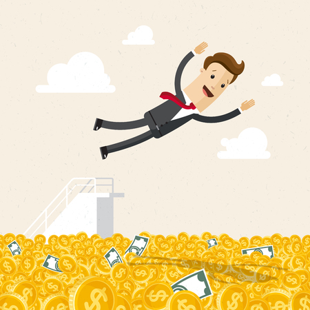 Happy businessman jumping into money. Business success, a lot of money. Illusztráció
