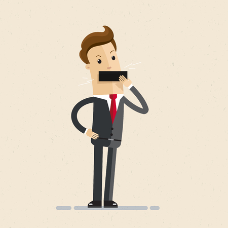 Businessman tape on his mouth. Close mouth. Illustration