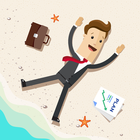 Business man, office worker or employee on beach. Dream of Working on freelance or vacation holidays concept.
