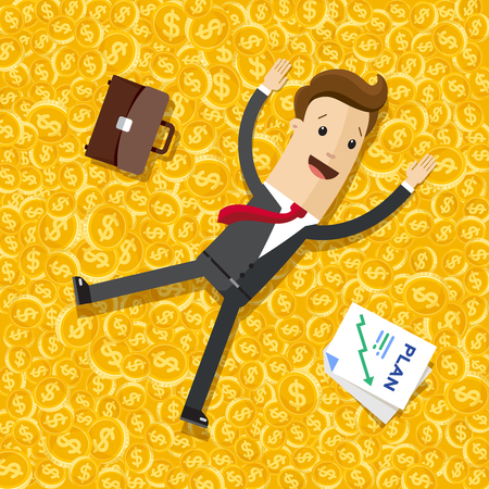 Businessman lying on the money, gold coins Illustration