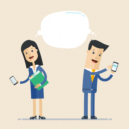 Businessman and business woman talking via smartphone. Business communication concept.