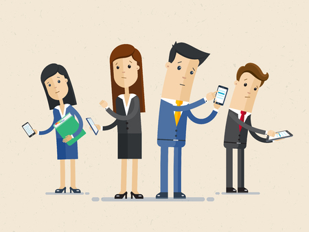 Business people group using phones and internet communication.