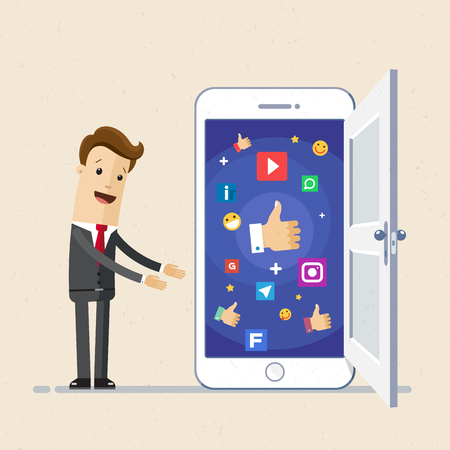 Business man show screen of smartphone with icons. Mobile phones technology business concept. Vector illustration flat