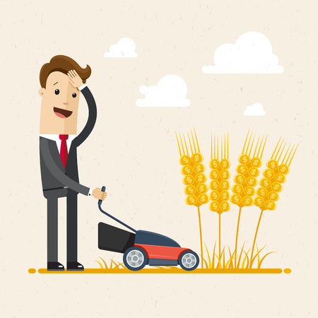 Businessman harvesting. A man in a suit is harvesting wheat. Business concept. Vector illustration flat