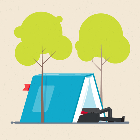 Businessman is resting in tent under trees. The tent in form of open book. Business concept. Vector illustration flat