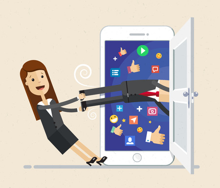 Business woman pull out business man by the feet from big smartphone. Vector illustration flat Illusztráció