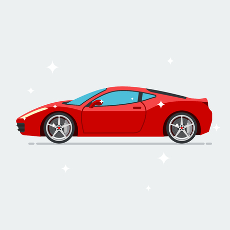 Red sport car isolated on white background. Vector illustration flat Illusztráció