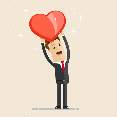 Business man showing a big red heart. Vector flat illustration