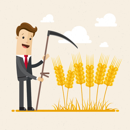 Businessman harvesting. A man in a suit is harvesting wheat with scythe. Business concept. Vector illustration flat Illusztráció