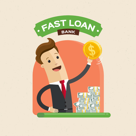 Businessman hand holding money. Fast loan, paying and credit cash concept. Vector illustration flat