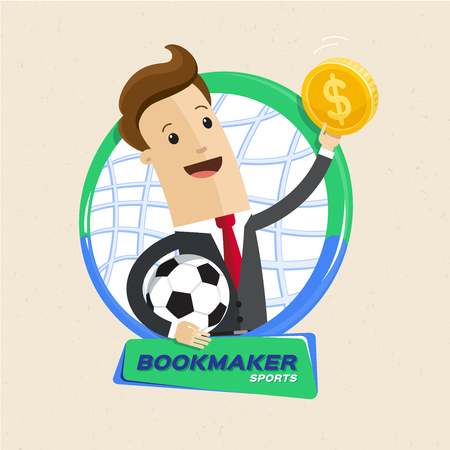 Bookmaker man with ball and money. Vector flat style cartoon illustration. Bookmaker man accept and pay off bets on sporting or other events, promising profit. Illusztráció