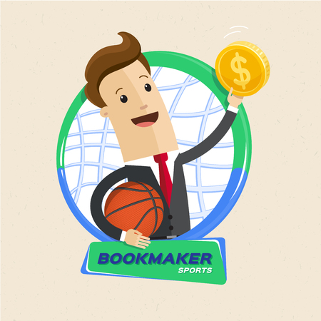 Bookmaker man with ball, basketball rim and money. Vector flat cartoon illustration