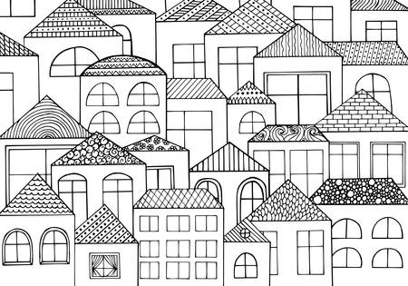 Hand drawn with ink background with a lot of houses, homes with many windows. Vector pattern black and white illustration can be used for wallpaper, coloring book pages for kids and adults. Vectores