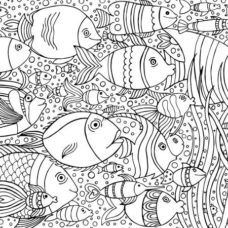 Sfondo disegnato a mano con molti pesci in acqua. progettazione vita di mare per il relax e la meditazione. Illustrazione vettoriale in bianco e nero modello può essere utilizzato per colorare le pagine del libro per bambini e adulti.