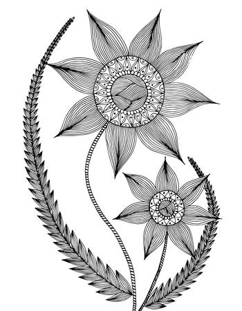 Hintergrund Mit Kritzeleien, Blumen, Blätter. Nature Design Für ...