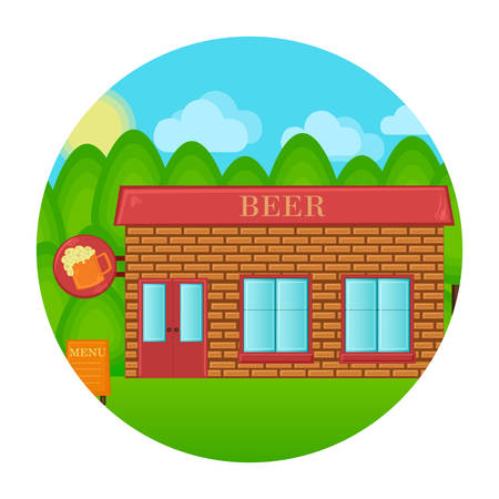irish cities: Beer pub building concept. Tavern house landscape. Vector cartoon illustration. Illustration