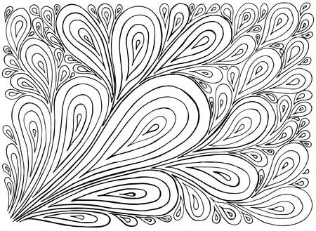 black outline: Hand drawn with ink background with doodles, drops. Vector pattern black and white illustration can be used for wallpaper, coloring book pages for kids and adults.