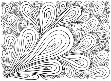dessin au trait: Tirée par la main avec de l'encre de fond avec des griffonnages, des gouttes. Vector motif noir et blanc illustration peut être utilisé pour le papier peint, des pages à colorier de livres pour les enfants et les adultes.
