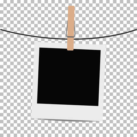 clothespin: Photo frame hung on rope with clothespin on transparent background. Vector illustration.