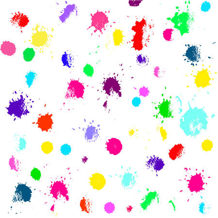 Hand drawn vector set with colored splashes, spots. Grunge texture with paint splashes on white background. Illustration